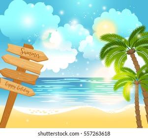 Summer happy holiday landscape near tropic sea. Wooden way direction. Vector illustration.