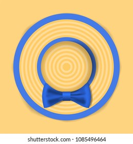Summer hat with a blue bow. Woman beach sunhat on sand. Top view. Summer concept. Vector illustration
