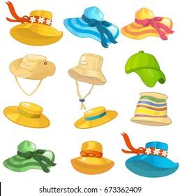 Summer hats men's and women's vector set