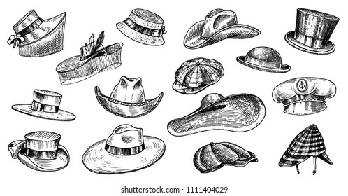 Summer Hats vintage collection for elegant men,woman, female and ladies. Fedora Derby Deerstalker Homburg Bowler Straw Beret Captain Cowboy Porkpie Boater. Retro fashion set. English style. Hand drawn