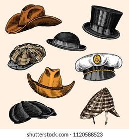 Summer Hats vintage collection for elegant men. Fedora Derby Deerstalker Homburg Bowler Straw Beret Captain Cowboy Porkpie Boater Peaked cap. Retro fashion set. English style. Hand drawn sketch.