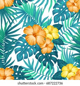 Summer hawaiian seamless pattern with exotic tropical plants and hibiscus flowers