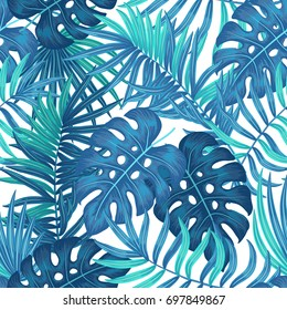 Summer hawaiian seamless pattern with exotic tropical plants, palm tree, monstera leaves
