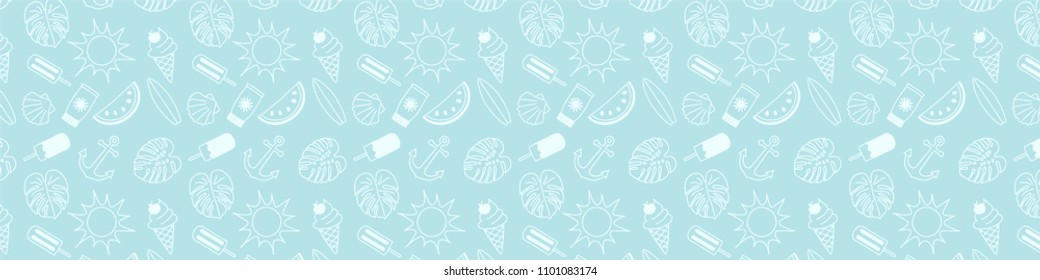 Summer header with funny doodles and copyspace. Vector.