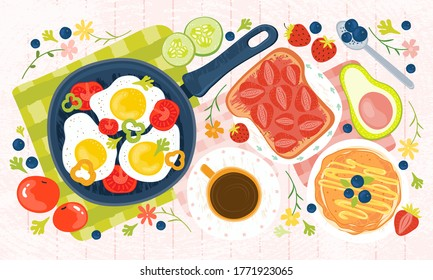 Summer healthy Breakfast - eggs, vegetables, pancakes, coffee, avocado, toast, jam, tomatoes, berries. Hand drawn illustration of a brunch with traditional food on a wooden table. Fresh farm products