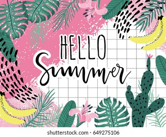 Summer hello Poster with banana, cactus and palm leaves. Vector illustration