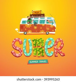 Summer. Hippie camper van. Youth traveling by a vintage microbus. Colorful hand drawn title. Vector colorful illustration in flat style