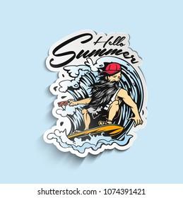Summer hipster men water skiing wake skater Paper Cut Tags, Labels , peel off sticker vector illustration.