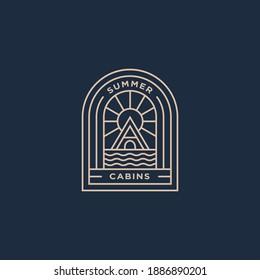 summer holiday cabins minimalist line art logo template vector illustration design. simple modern lodge logo concept