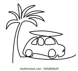 Summer holiday car trip one line drawing
