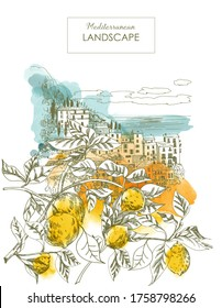 Summer holiday card. Illustration  of mediterranean landscape and lemon branch in the foreground. Sketch and watercolor