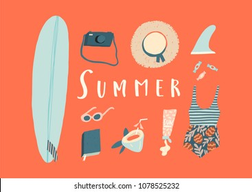 Summer holiday card with women beach objects. Surfing card and poster