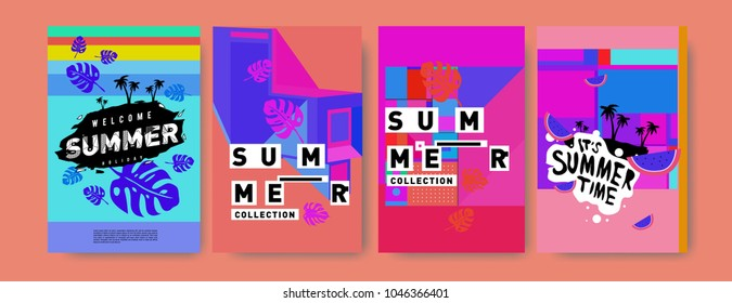 Summer holiday colorful poster set. Fashion and travel discount. Vector holiday Abstract colorful illustration with tropical and abstract elements.