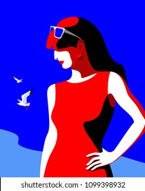 Summer holiday concept. Abstract woman in profile with long hair wearing red dress and sunglasses. Sea background with gulls. Vector illustration