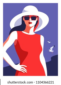 Summer holiday concept. Abstract woman  wearing red dress, big white hat and sunglasses, walking on the beach. Sea background with gull. Vector illustration
