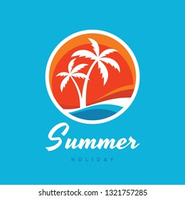 Summer holiday - concept business logo vector illustration in flat style. Tropical paradise creative badge. Palms, island, beach, sunrise, sea wave. Travel webbanner or poster. Graphic design element.