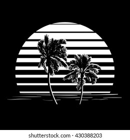 Summer holiday design. Tropic sunset. Palm trees silhouettes on black and white stripes. Minimalistic style logo. EPS10 vector illustration.