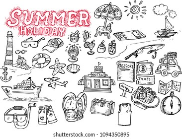 summer holiday, doodle