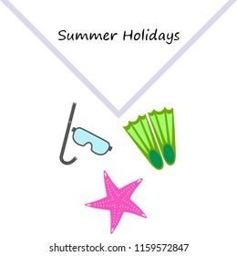 Summer holiday, fins starfish underwater mask