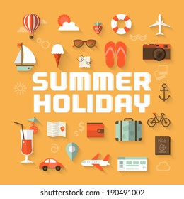 Summer holiday flat icons with lettering. Vector illustration