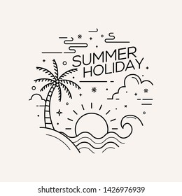 Summer holiday flat style with line art vector illustration