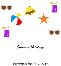 summer holiday hat flip flops seashell vector background