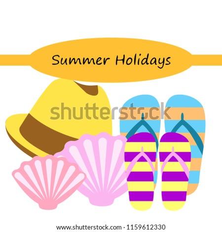 88cb8cb450658 Summer Holiday Hat Flip Flops Seashell Stock Vector (Royalty Free ...