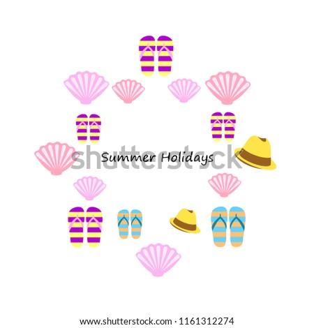 ea2c28ed7346c9 Summer Holiday Hat Flip Flops Seashell Stock Vector (Royalty Free ...
