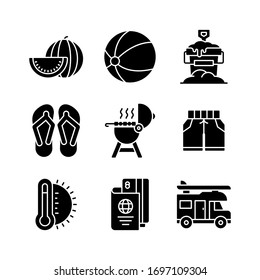 Summer Holiday icon set = watermelon, beach ball, sand bucket, sandals, barbeque, shorts, thermometer, passport, van
