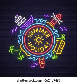 Summer Holiday neon sign. Neon sign, bright signboard, light banner.