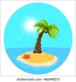 Summer holiday. Palm tree on the island. Vector, palm and the island. Relax on the beach. Vector illustration.  Palm-tree on the tropical island. Sunny palm beach. Isolated background.