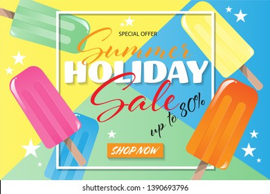Summer holiday sale banner template, with Popsicles ice-cream and lemon for summer season. Vector illustration.