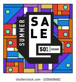 Summer holiday sale memphis style web banner. Fashion and travel discount poster. Vector holiday abstract colorful illustration with special offer and promotion.