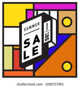 Summer holiday sale memphis style web banner. Fashion and travel discount poster. Vector holiday bbstract colorful illustration with special offer and promotion.