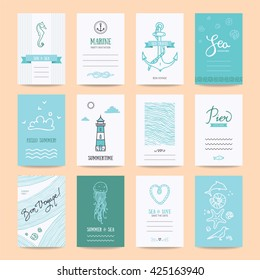Summer holiday, sea vacation, ocean trip card, wedding flyer, party invitation, poster. Hipster collection of summertime templates, hand drawn design elements, marine symbols, illustration. Isolated.