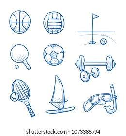 Summer holiday sports icon set, with tennis, golf, wind surfing, volleyball, soccer, basketball, gym. Hand drawn line art cartoon vector illustration.
