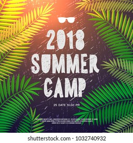 Summer Holiday and Travel themed Summer Camp 2018 poster, vector illustration.