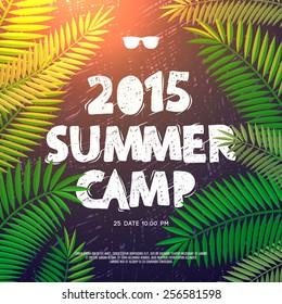 Summer Holiday and Travel themed Summer Camp poster, vector illustration.