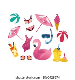 Summer holiday vacation elements set. Cartoon beach pool party objects seaside travel illustration. Vector inflatable ball pink flamingo ring sunglasses cocktail swimsuit sun umbrella snorkel icecream