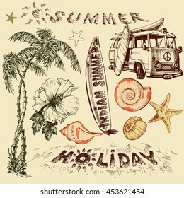 Summer holiday vector set, surf elements