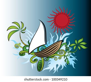 summer holiday view with sailing ship