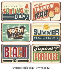 Summer holiday vintage sign boards collection. Tropical beach advertising billboards, posters and ads for tropical bar, surfing or yacht club.