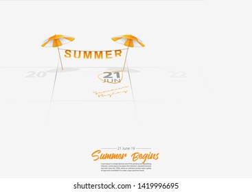 Summer Holiday. Wooden beach chair with beach umbrella. Deckchair and orang umbrella marked date Summer season start on calendar 21th June 2019. Summer vacation concepts. Vector Illustration.