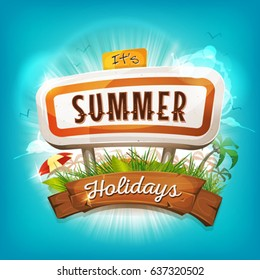 Summer Holidays Background/ Illustration of a flashy design summer time poster, with road panel, tropical plants, sunshades, palm trees silhouette and wood banner