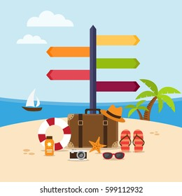 Summer holidays background on the beach with travel accessories and signpost. Vector illustration
