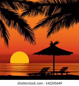 Summer holidays background with palm tree and lounge chair. Sunset View Poster. Vector beach resort wallpaper.