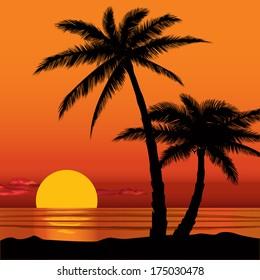 Summer holidays background. Seaside View Poster. Vector beach resort wallpaper