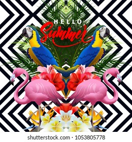 Summer holidays background with tropical flowers with colorful tropical parrots, with pink flamingo Lettering Hello summer Template Vector.