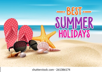 Summer Holidays in Beach Seashore. Vector Illustration