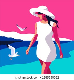 Summer holidays concept. Abstract young woman wearing big hat walking on the beach. Sea background with gulls. Vector illustration